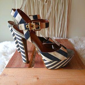 Jessica Simpson striped chunky platform sandals